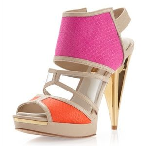 BCBGMAXAZRIA Hex Orange Pink High Heels 8.5